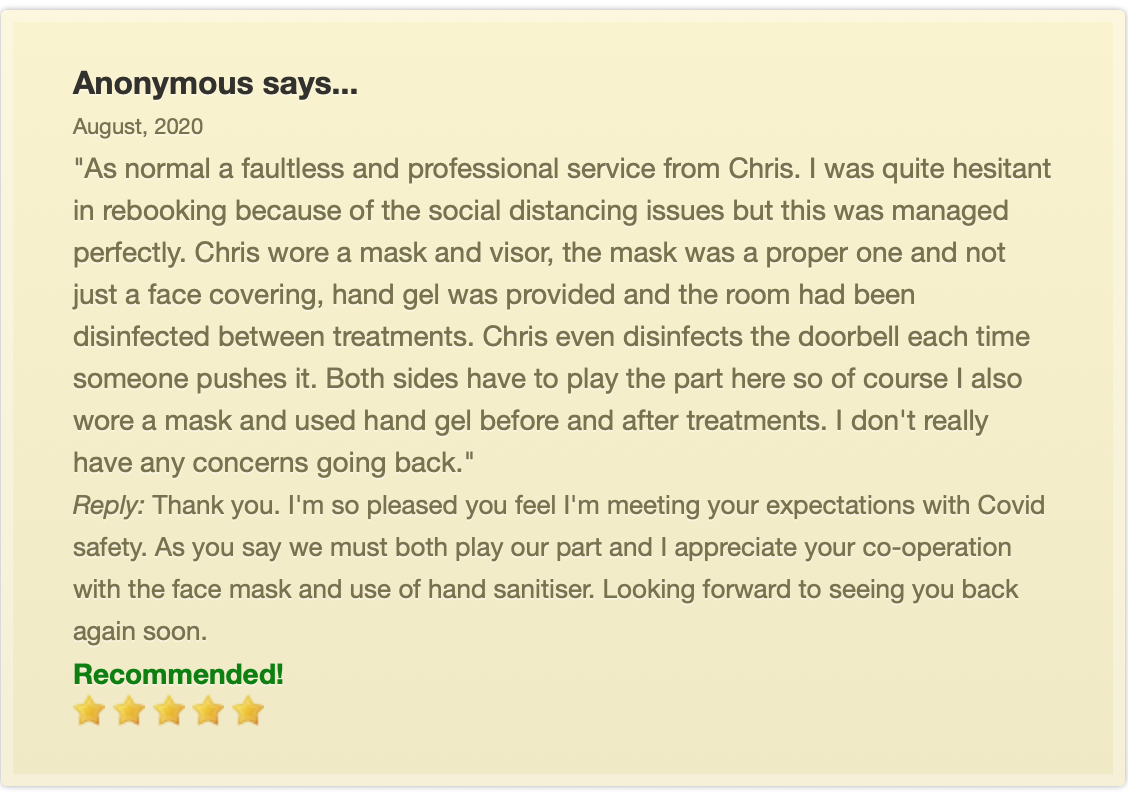 review of waxing and sugaring services at Chris Brown Therapies